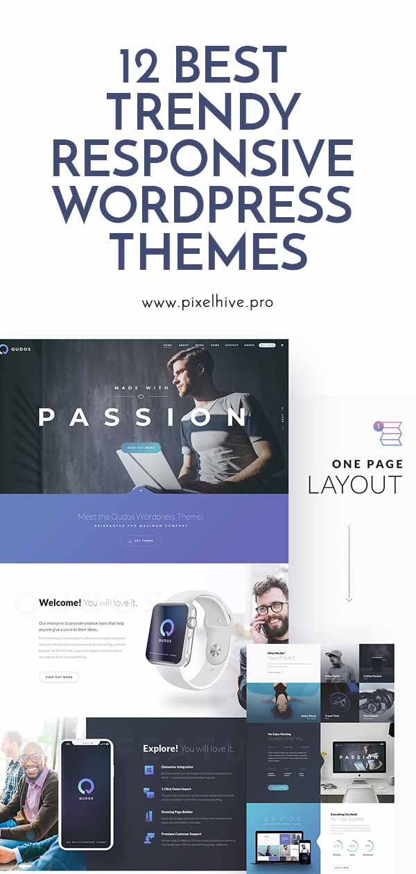 12 Best Trendy Responsive WordPress Themes Pin Post