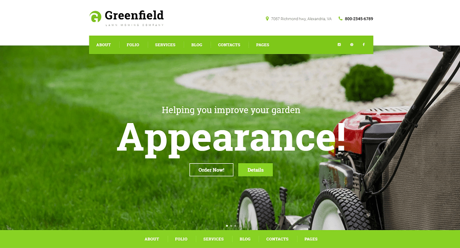GreenField - Lawn Mowing Company Responsive WordPress Theme