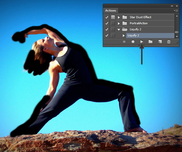 Liquify 2 Photoshop Action Play Button