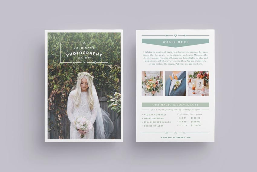 Wanderers Wedding Flyer Price List InDesign template