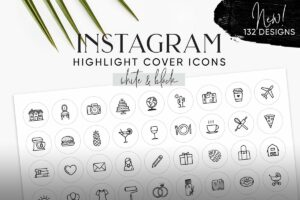 White & Black Instagram Cover Icons